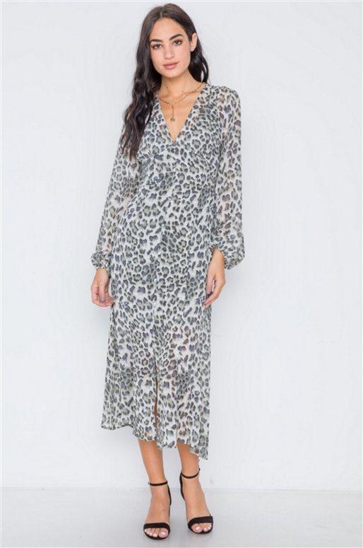 Longue robe imprimé léopard