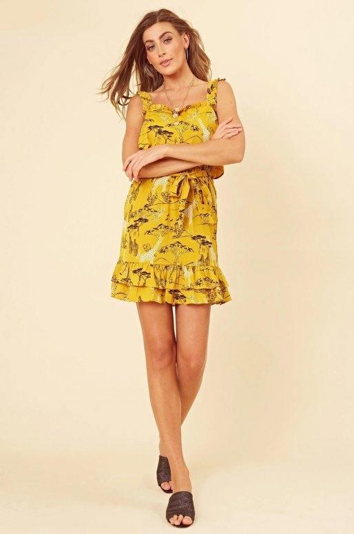 Robe jaune à volants, imprimé safari