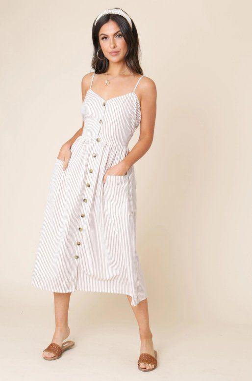Robe en coton boutonnée sur le devant, à rayures