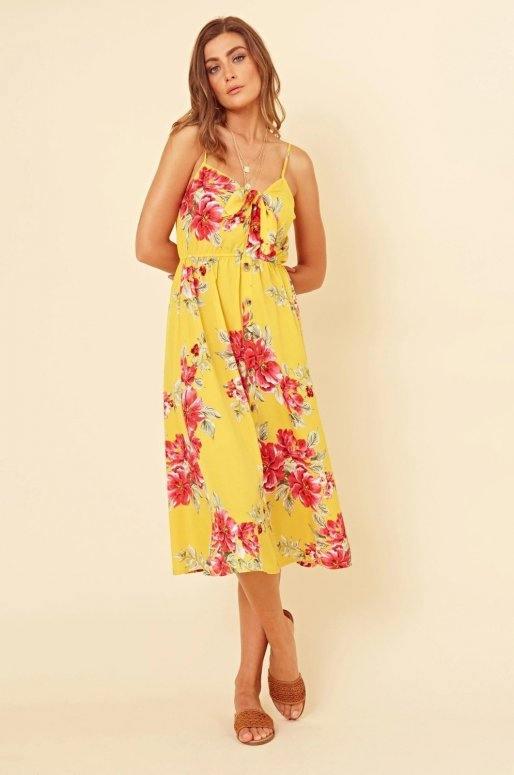 Robe midi de couleur jaune, imprimé floral