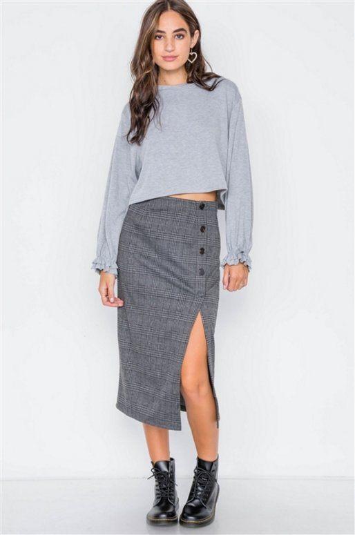 Jupe «Olivia» taille haute, imprimé gris à carreaux