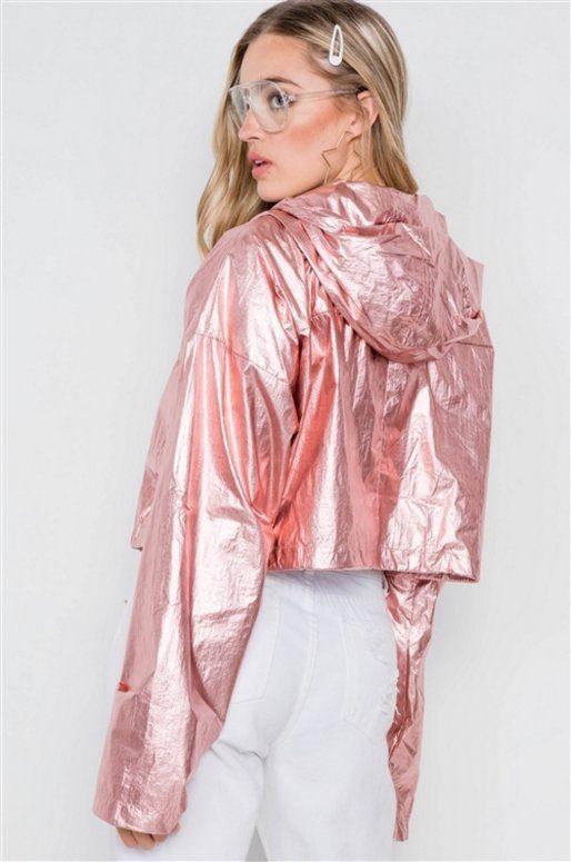Veste courte à capuche de couleur rose doré