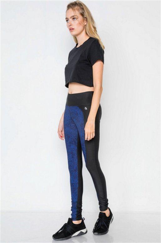 Legging de sport bleu et noir, design abstrait