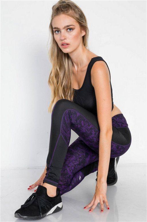 Legging de sport violet et noir, imprimé aquarelle