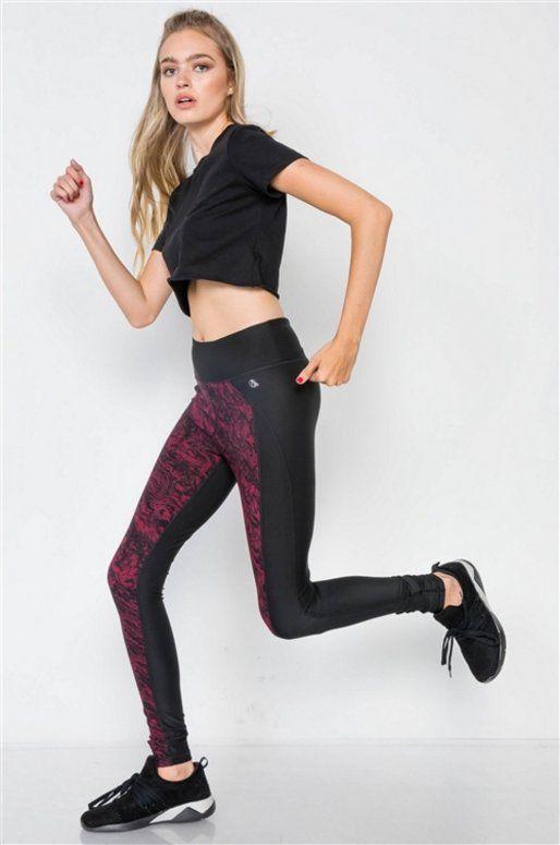 Legging de sport rose et noir, imprimé aquarelle