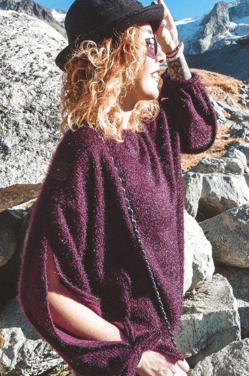 Chapeau noir en laine avec bordure