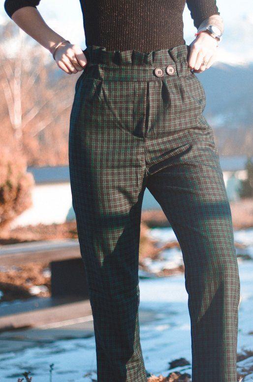 Pantalon taille haute vert indigo imprimé écossais