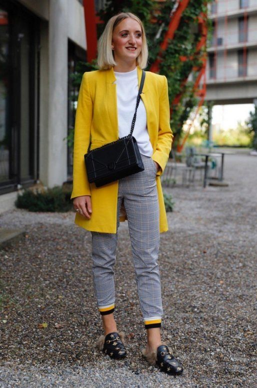 Pantalon vichy gris et jaune