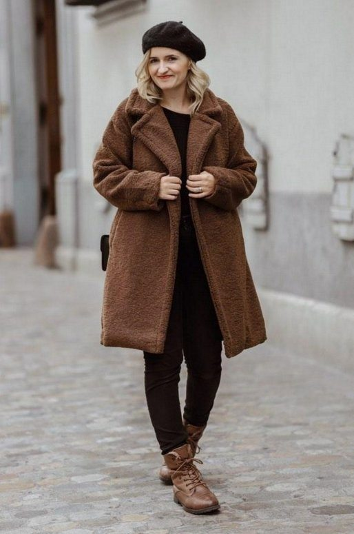 Manteau Teddy marron oversize