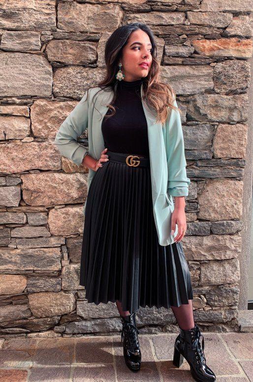 Long blazer de couleur vert menthe