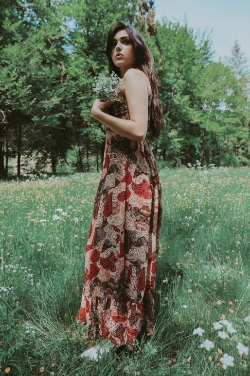 Longue robe empire imprimé cachemire