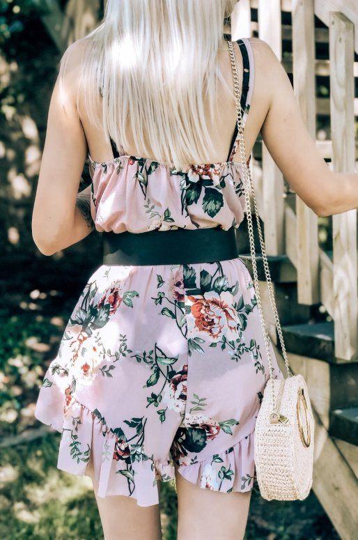Combishort rose à fleurs