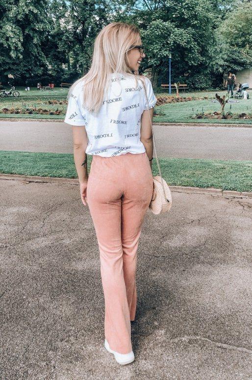 Pantalon taille haute de style vintage, imitation daim rose