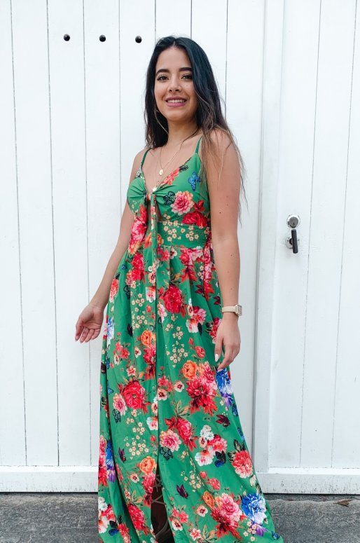 Longue robe verte à imprimé floral