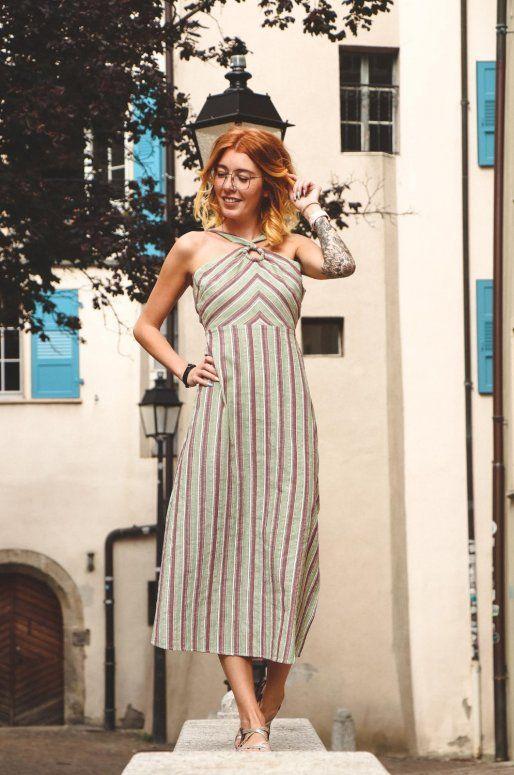 Longue robe bohème à rayures