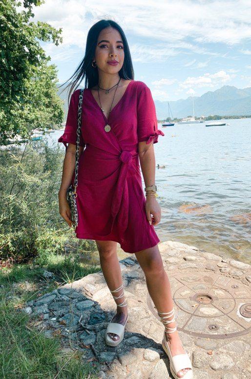 Robe cache cœur en coton de couleur rose