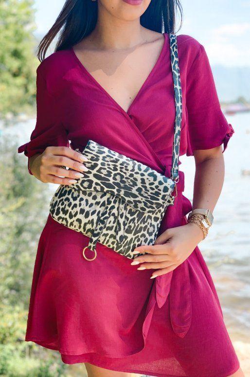 Sac à main imprimé léopard noir et blanc