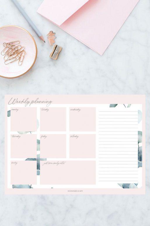 Planificateur hebdomadaire au look vert et rose