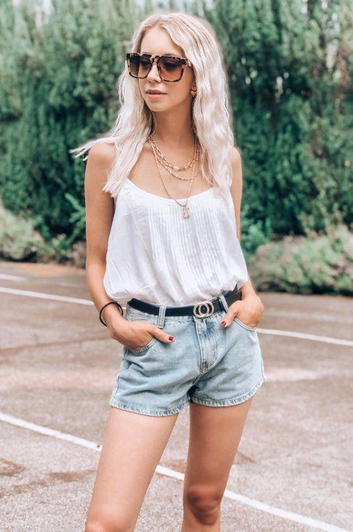 Mini short casual en denim bleu clair délavé