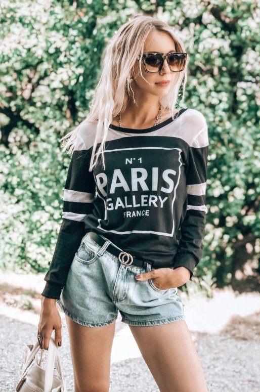 """Top manches longues noir et blanc avec inscription graphique """"PARIS"""""""
