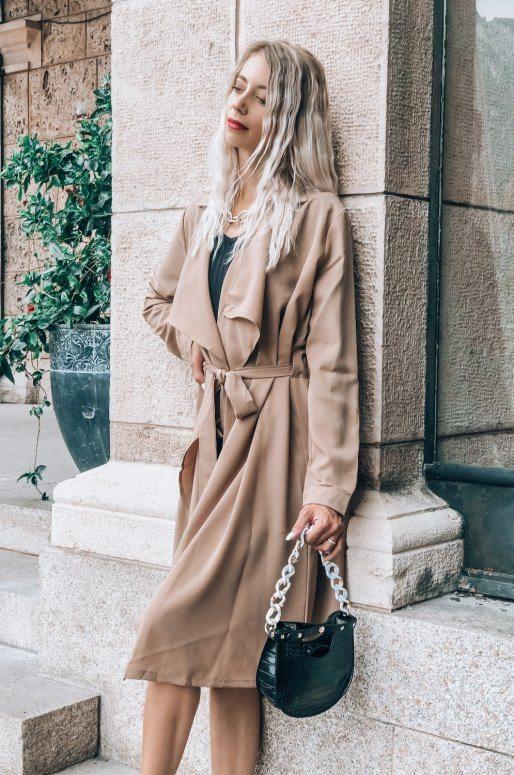 Veste légère de style trench coat, couleur beige
