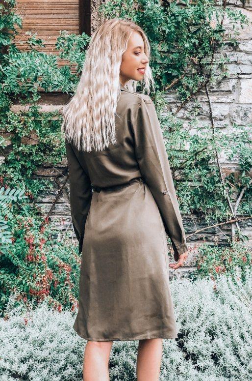 Veste légère de style trench coat, couleur vert olive
