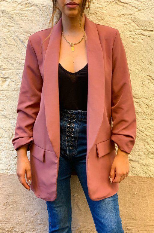 Long blazer de couleur vieux rose