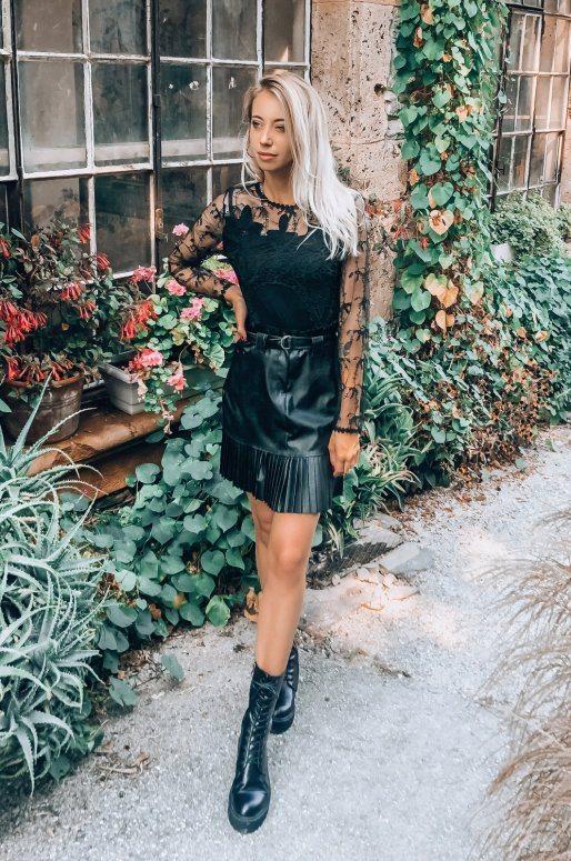 Jupe noire en simili cuir