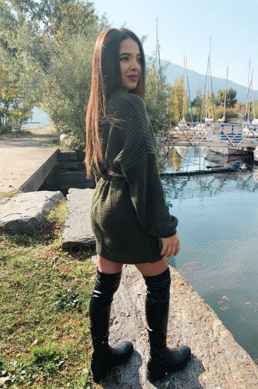 Cardigan cache-cœur de couleur vert