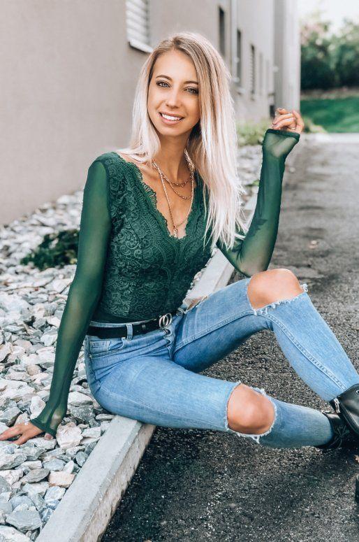 Body en dentelle de couleur vert