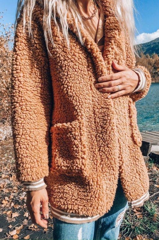 Jaquette Teddy de couleur camel