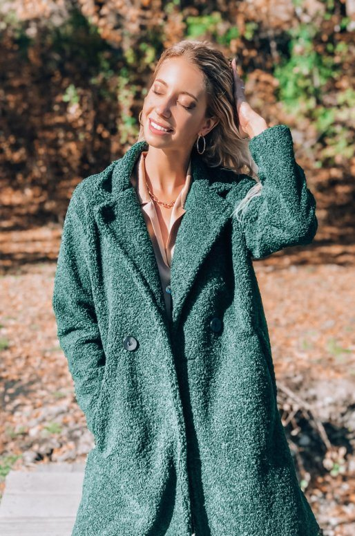 Manteau Teddy de couleur vert émeraude