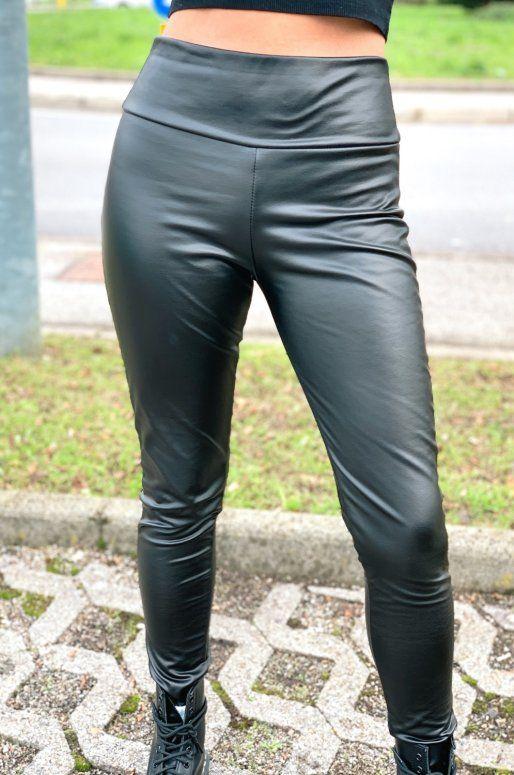 Legging taille haute en simili cuir