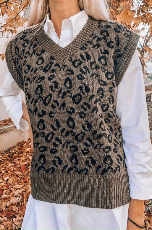 Pull sans manches imprimé léopard de couleur vert