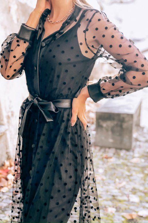 Robe noire transparente à pois