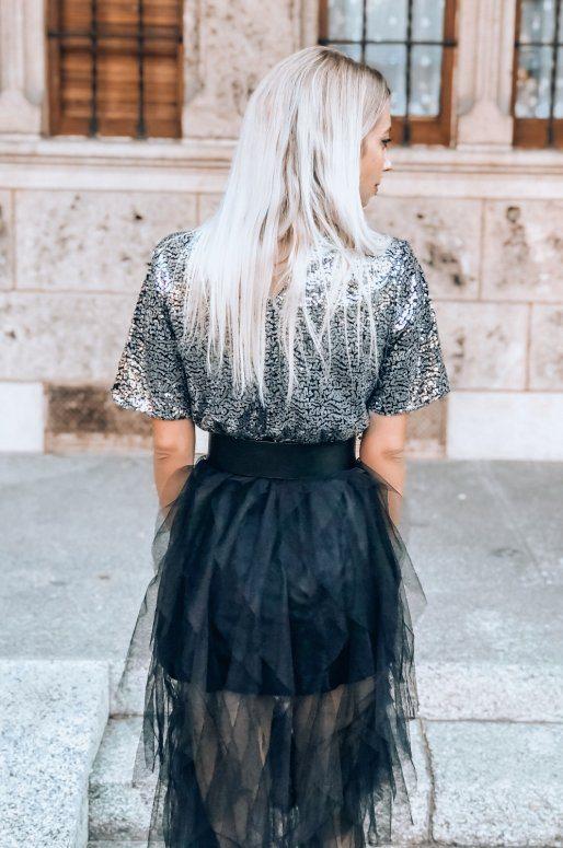 Robe noire et argentée, jupe en tulle et haut brodé de sequins