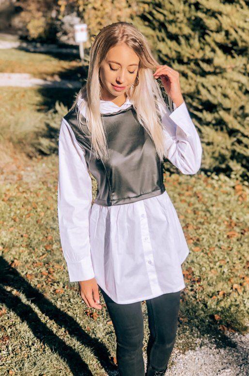 Longue chemise blanche avec haut en simili cuir