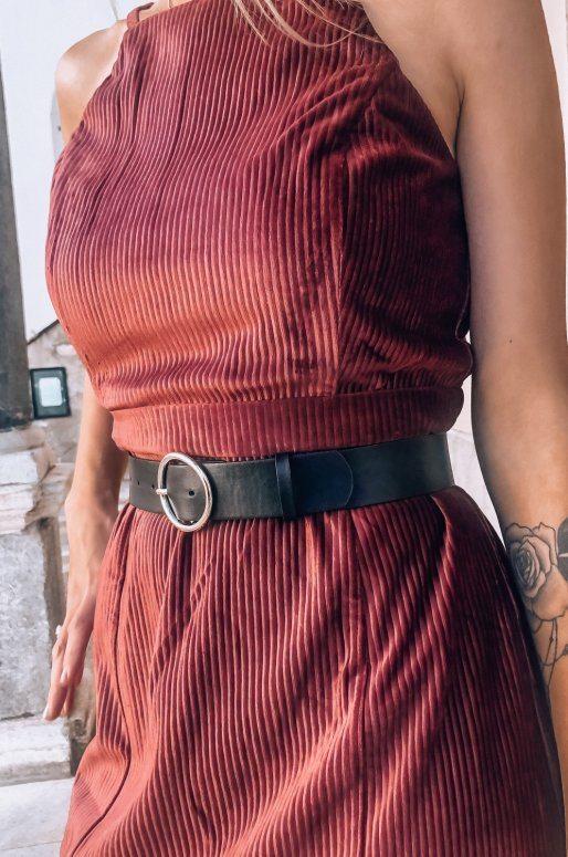 Mini robe en velours côtelé à encolure carrée