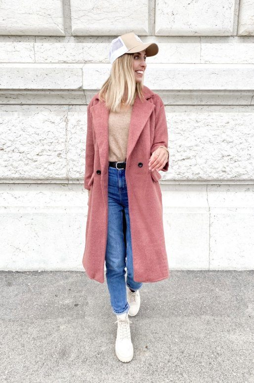 Long manteau de couleur rose