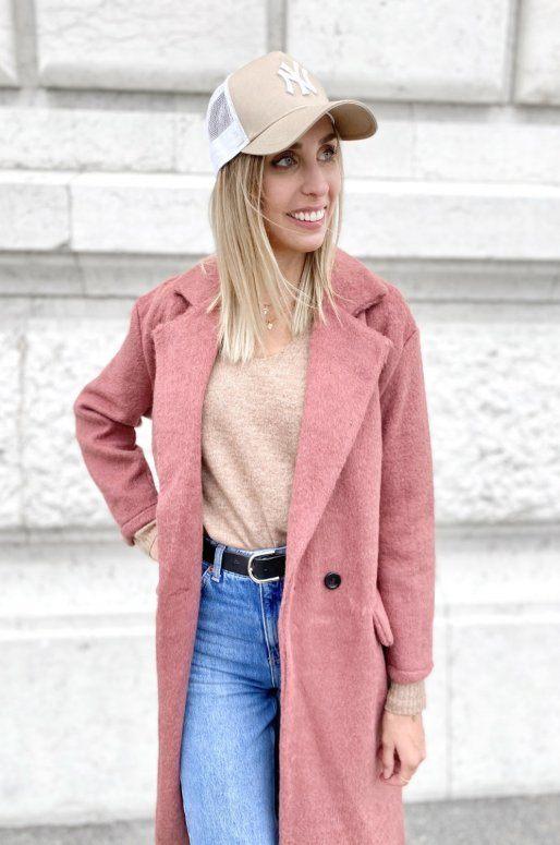 Long manteau de couleur rose