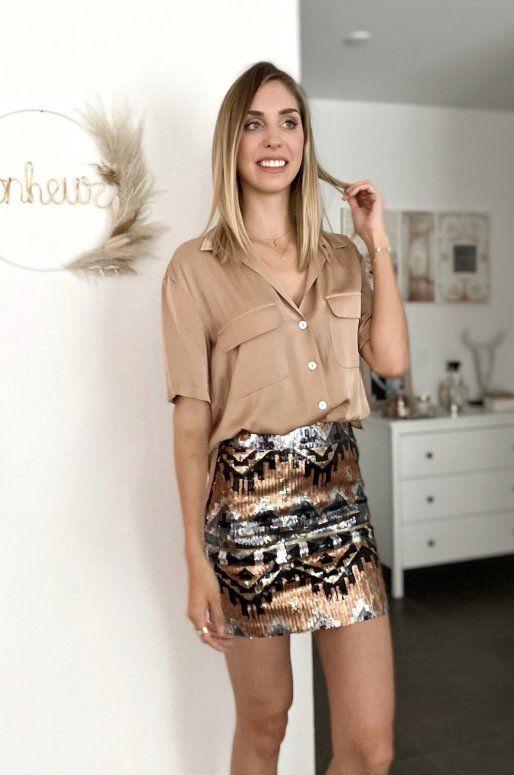Mini jupe taille haute à paillettes