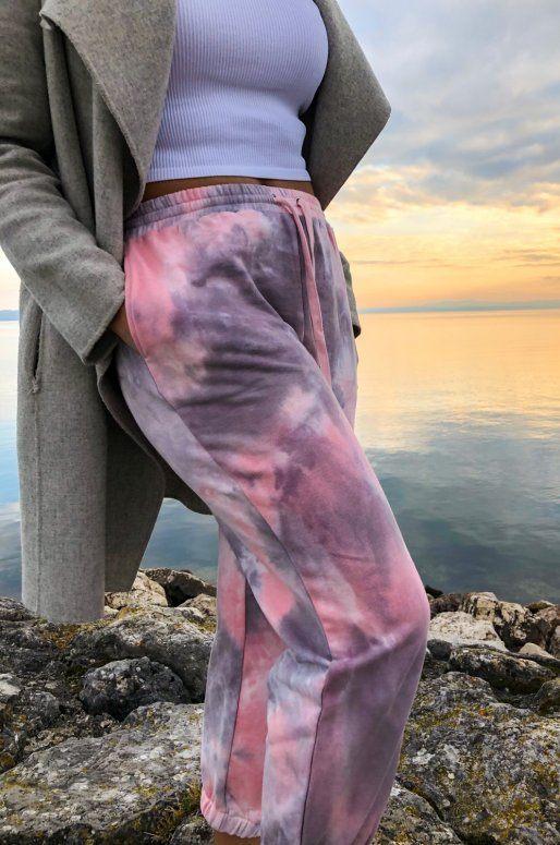 Pantalon de jogging rose imprimé Tie-Dye