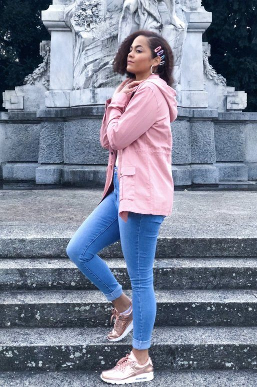 Veste légère en coton de couleur rose