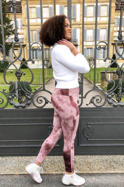 Legging de yoga imprimé Tie-Dye rose