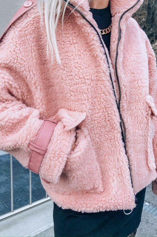 Blouson Teddy de couleur rose