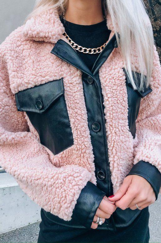 Blouson Teddy de couleur rose et noir