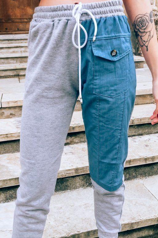 Pantalon de jogging gris avec détail en jean