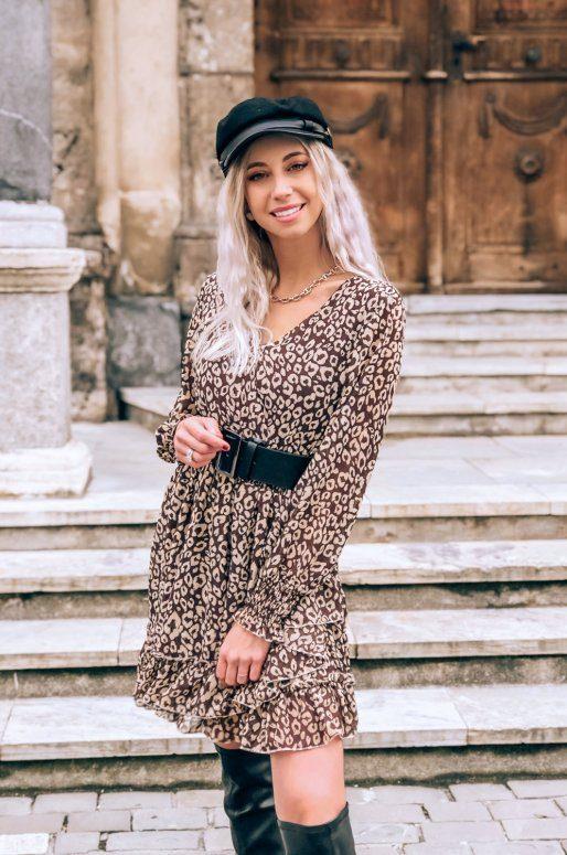 Mini robe manches longues imprimé léopard