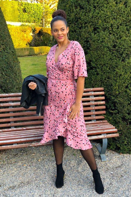 Robe portefeuille de couleur rose, imprimé abstrait