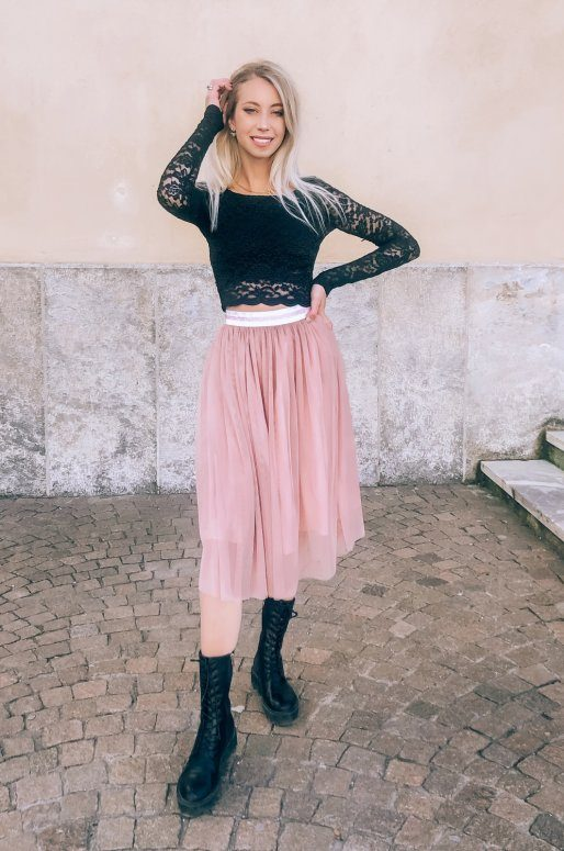 Jupe en tulle de couleur rose